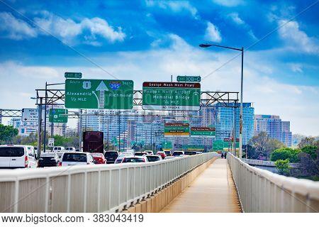 Traffic Jam On Rochambeau Memorial Bridge From Arlington Virginia To Washington District Columbia