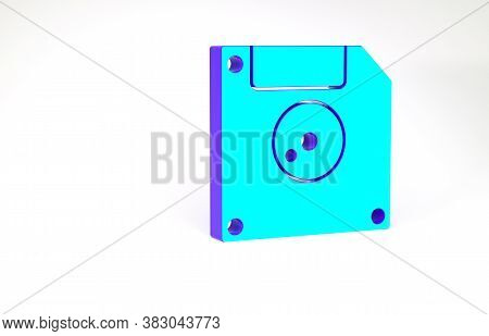 Turquoise Floppy Disk For Computer Data Storage Icon Isolated On White Background. Diskette Sign. Mi