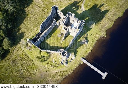 Kilchurn Castle Aerial View Above Loch Awe Scotland