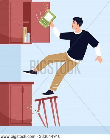 Man Falls Off Chair Semi Flat Vector Illustration