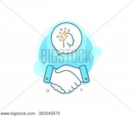 Human Head With Lightning Bolt Sign. Handshake Deal Complex Icon. Creative Brainstorming Line Icon.
