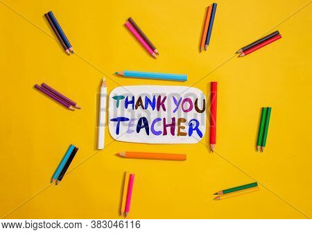 Thank You Teacher Creative Photo With Color Pencils, Happy Teacher's Day Conceptual Photo
