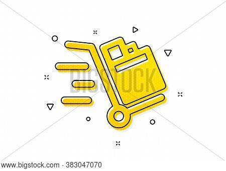 Delivery Service Sign. Push Cart Icon. Express Shipping Symbol. Yellow Circles Pattern. Classic Push