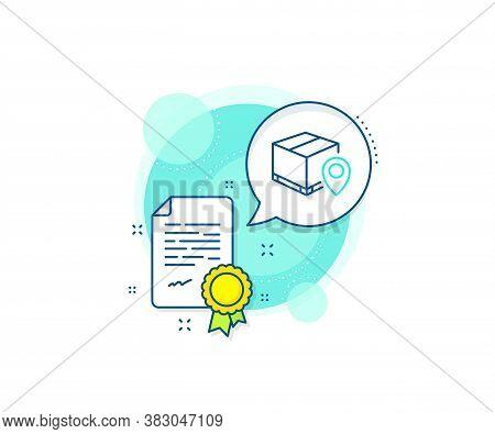 Delivery Monitoring Sign. Certification Complex Icon. Parcel Tracking Line Icon. Shipping Box Locati