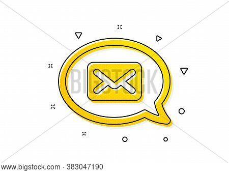 Messenger Communication Sign. Mail Icon. E-mail Symbol. Yellow Circles Pattern. Classic Messenger Ic