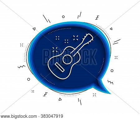 Acoustic Guitar Line Icon. Chat Bubble With Shadow. Music Sign. Musical Instrument Symbol. Thin Line