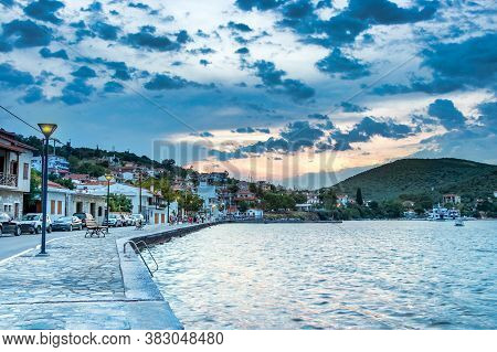 View Of The Small City Mitzela - Amaliapoli At Sunset In Thessaly, Greece.