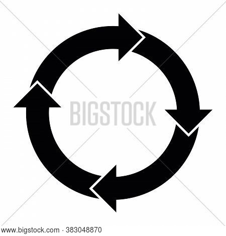 4 Arrows In Circle. Business Infographic Diagram Of Four Repeating Steps. Simple Flat Vector Illustr