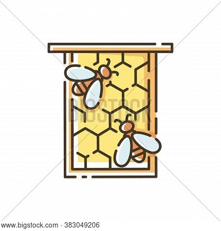 Honeycomb Frame Rgb Color Icon. Honeybees Nest, Nectar And Beeswax Container. Beekeeping, Apiculture