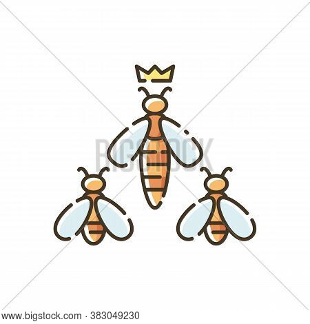Queen Bee Rgb Color Icon. Apiology, Beehive Hierarchy. Beekeeping, Apiculture. Honeybee Workers With