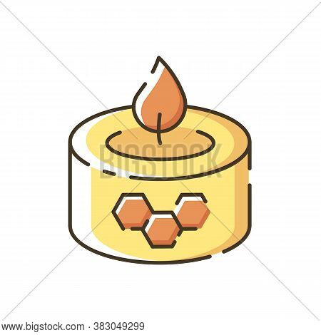 Beeswax Candle Rgb Color Icon. Natural Bee Product. Diy Apiculture, Beekeeping Business. Handmade De