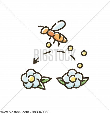 Pollination Rgb Color Icon. Working Bee Collecting Nectar, Carrying Wildflower Pollen. Beekeeping, B