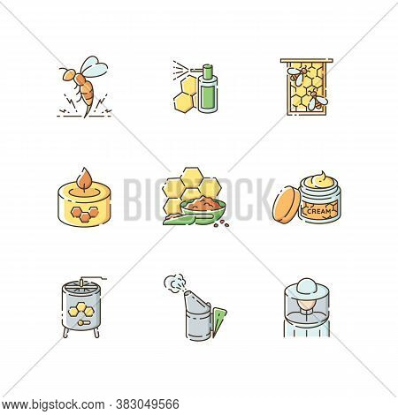Diy Beekeeping Rgb Color Icons Set. Homemade Apiculture. Natural Honey Making. Professional Apiarist