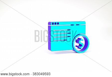 Turquoise Online Shopping On Screen Icon Isolated On White Background. Concept E-commerce, E-busines