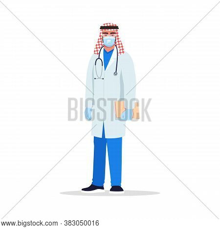Infectious Disease Doctor Semi Flat Rgb Color Vector Illustration. Hospital Personnel. Young Arab Ma