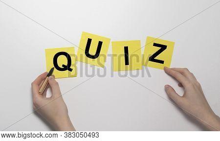 Quiz Handwritten On Paper On Wooden Background, Quiz Concept