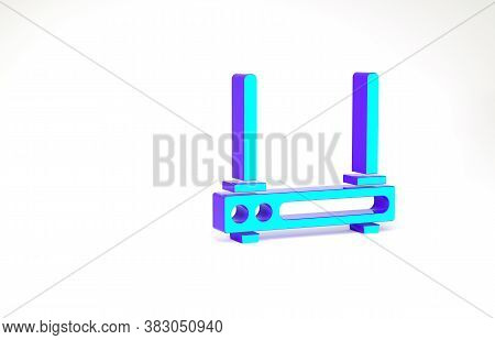 Turquoise Router And Wi-fi Signal Symbol Icon Isolated On White Background. Wireless Ethernet Modem