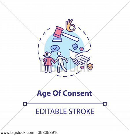 Age Of Consent Concept Icon. Sex Partners Mutual Agreement. Sexual Education Idea Thin Line Illustra