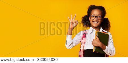 Okay, School. Cheerful African Schoolgirl Gesturing Ok Holding Books Posing Over Yellow Studio Backg