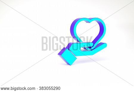 Turquoise Heart On Hand Icon Isolated On White Background. Hand Giving Love Symbol. Valentines Day S