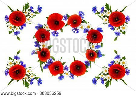 Wreath Of Red Poppies, Cornflowers And Chamomile On White Background With Space For Text. Flat Lay,