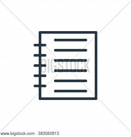 notepad icon isolated on white background from working in the office collection. notepad icon trendy