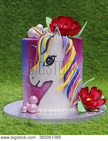 Dubai, United Arab Emirates - August 24, 2020 Birthday Cake Mastic For A Child . Bright And Colorful