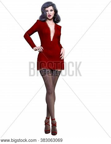 Beautiful Woman Red Short Evening Mini Dress And Black Stockings.summer Clothes Collection.bright Ma