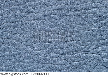 Texture Of Genuine Leather Close-up, Blue Color Print. For Background, Backdrop, Copy Space