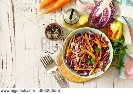 Cole Slaw. Cabbage Salad In A Bowl On A Wooden Table. Top View Flat Lay Background. Copy Space.