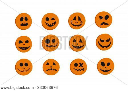 Set Of Round Orange Stickers With Faces. Halloween Pumpkins With Different Emotions Joy, Curiosity,