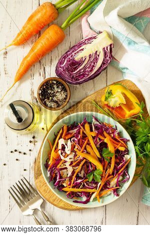 Cole Slaw. Cabbage Salad In A Bowl On A Wooden Table. Top View Flat Lay Background.