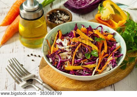 Cole Slaw. Cabbage Salad In A Bowl On A Wooden Table.
