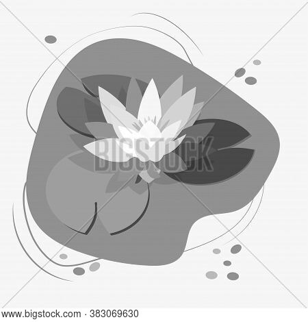 Lotus Flower And Leaves, Water Lily, White Water Lily. Black Silhouette On White Background. Vector