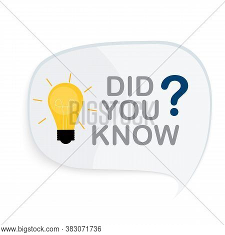 Did You Know Interesting Fact Label Sticker. Vector Illustration