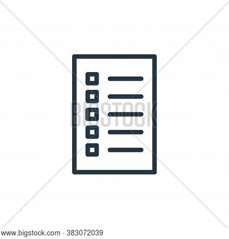 checklist icon isolated on white background from working in the office collection. checklist icon tr