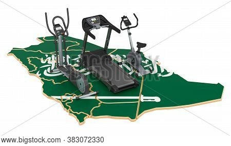 Sport Clubs In Saudi Arabia. Fitness, Exercise Equipments On Saudi Arabian Map. 3d Rendering Isolate