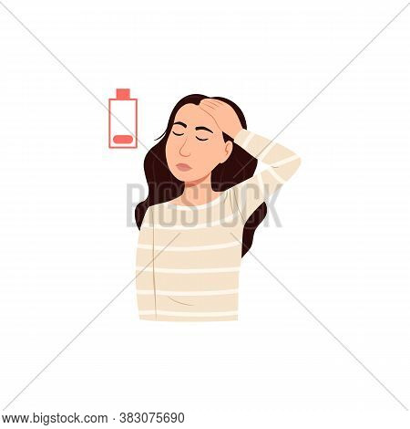 Young Sick Woman Has Headache Icon Isolated On White Background. Cartoon Stressed Female Person Port