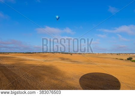 Alentejo, Portugal - August 27, 2020: Ascension of hot air balloons of hot air balloons in the Alentejo region, Portugal.