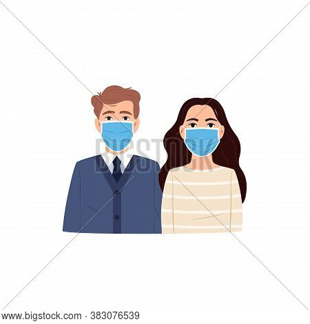 Young People Man Woman Wear Protective Surgical Face Mask Flat Icon. Flu Virus Coronavirus Infectiou