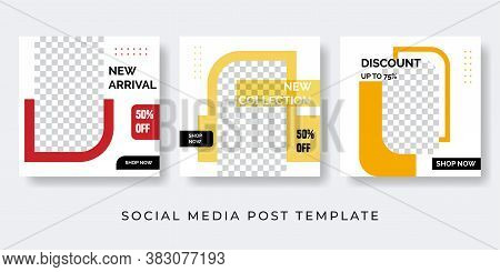 Fashion Social Media Post Template Set. Modern Promotion Square Web Banner