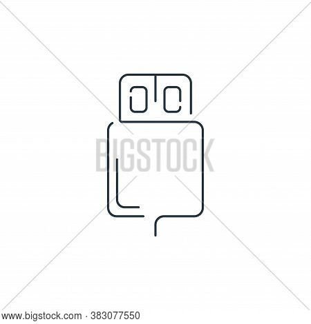 usb cable icon isolated on white background from hardware and technology collection. usb cable icon