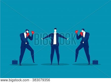 Businessman Stop Conflict.stop Fighting On Blue Background Vector.