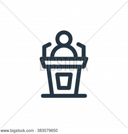 speech icon isolated on white background from business administration collection. speech icon trendy