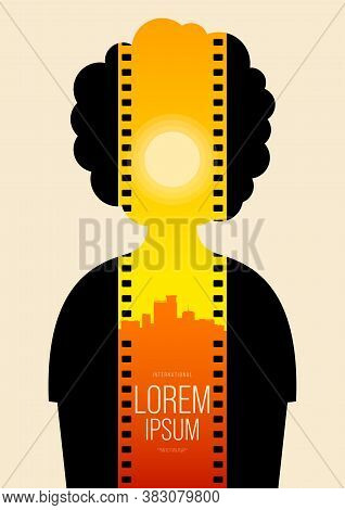 Movie And Film Poster Design Template Background With Dramatic Sunset Film Stripe. Design Element Ca