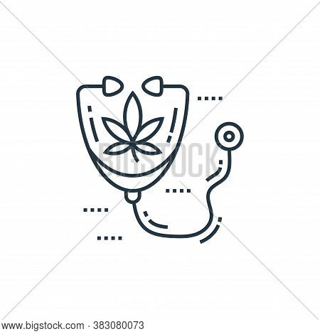 stethoscope icon isolated on white background from cells organs and medical cannabis collection. ste