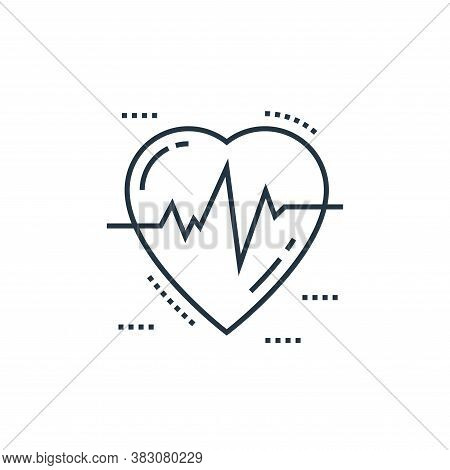 heartbeat icon isolated on white background from cells organs and medical cannabis collection. heart