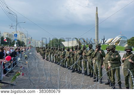 Minsk, Belarus - Aug 30, 2020: Peaceful protest march of Freedom in Minsk, Belarus. Thousands of people gathered again to demand new fair elections and resignation of Lukashenko.