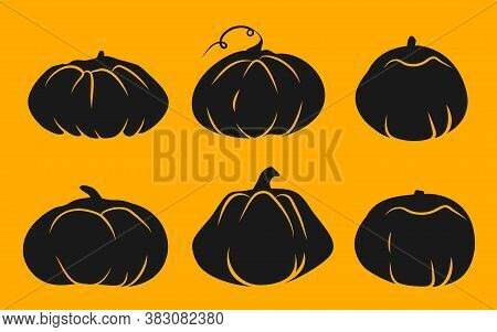 Glyph Icons Set Of Autumn Pumpkin With White Line. Symbol Thanksgiving And Halloween Of Holiday In O