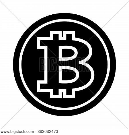 Bitcoin Silhouette Vector Illustration Isolated On White Background. Ideal For Logo Design Element,